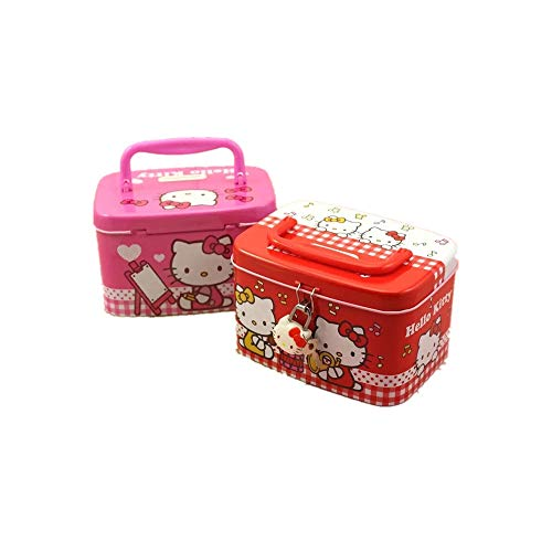 Yefashion Hello Kitty Piggy Bank Cartoon Girl Kid Cuboid Money Coin Safe Box Xmas Birthday Gift (Pink)