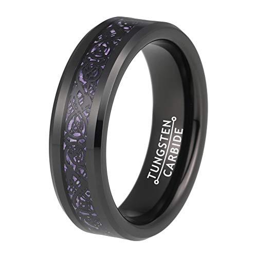 BestTungsten 6mm 8mm Black Tungsten Rings for Men Women Wedding Bands Celtic Dragon Purple Carbon Fiber Inlay Comfort Fit