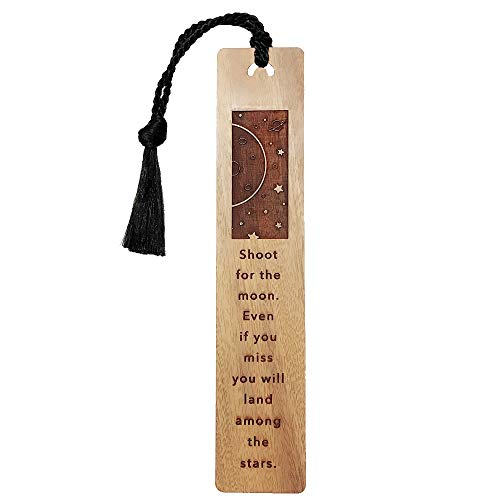 Shoot For The Moon.Even If You Missed,You Will Land Among The Stars-Engraved Wood Bookmark,Bookmark For Kids,Student Christmas Gift,Motivational Birthday Gift,Inspirational Bookmark (Burmese Rosewood)
