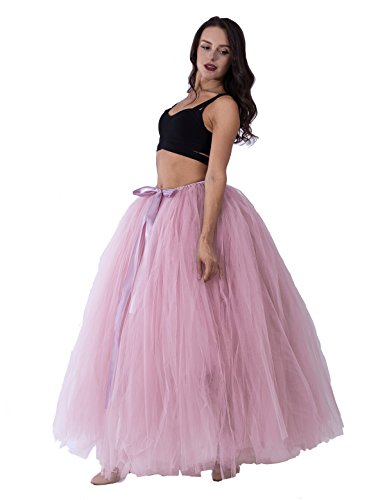 (Handmade Maternity Photography 100 cm Long Puffy Tutu Tulle Skirt for Women Floor Length Wedding Costume Party Skirts for Photo Shoot Dusty Pink)