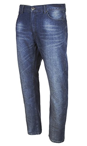 VINTAGE GENES Mens Stretch Skinny Washed Denim Jeans, Night Fall Dark Blue 36x30