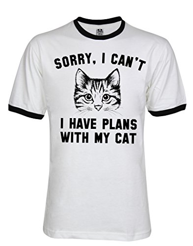 (Topcloset Sorry I Can't I Have Plans with My Cat Ringer T-Shirt Medium White/Black)