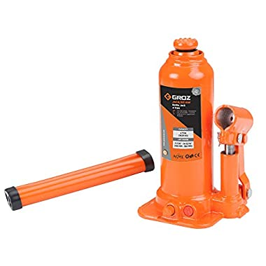 Groz 4 Ton Hydraulic Bottle Jack with Load Limiting Device | Ideal for use with Cars, Mini Trucks, MUVs, SUVs, LCVs, etc.| Portable| Leak-proof| Forged Base| Lifting Range: 190 – 368 mm| JACK/BT/4W 6
