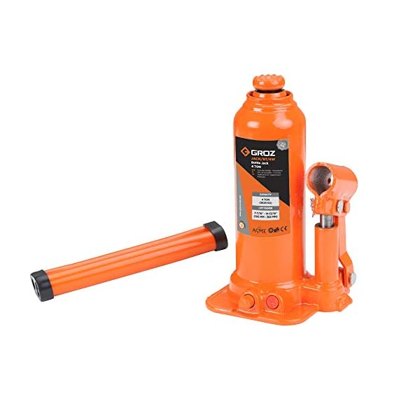 Groz 4 Ton Hydraulic Bottle Jack with Load Limiting Device | Ideal for use with Cars, Mini Trucks, MUVs, SUVs, LCVs, etc.| Portable| Leak-proof| Forged Base| Lifting Range: 190 – 368 mm| JACK/BT/4W 2