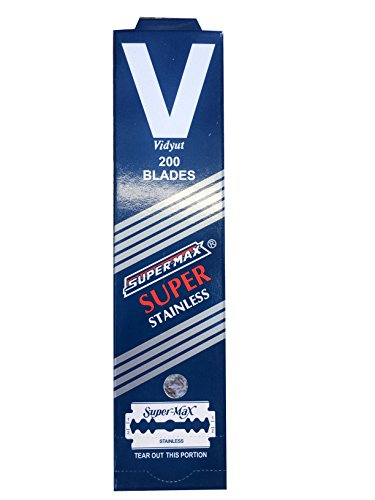 Super-Max Super Stainless Double Edge Safety Razor Blades, 200 blades (20x10) (Super Max Razor Blade)