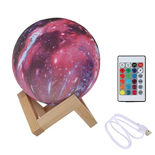 LED 3D Print Moon Lamp Starry Moon Night Light Colorful Lamp With Stand/Remote Red -