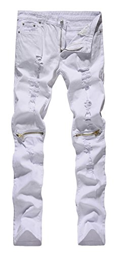 [NITAGUT Men's Skinny Ripped Distressed Destroyed Slim Straight Fit Zipper Jeans With Holes White-US 32] (Distressed Jeans Pants)