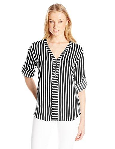 Calvin Klein Women's Plus Size Mixed Stripe Zip Front Blouse, BK/Sft Wt Cmbo Cksp, 1X