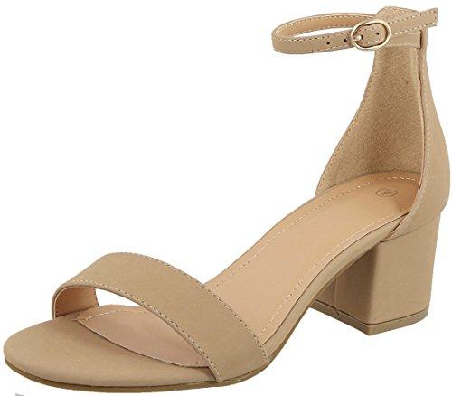 TOP Moda Women's Strappy Velvet Stacked Block Heel Dress Sandal,7 B(M) US,Taupe