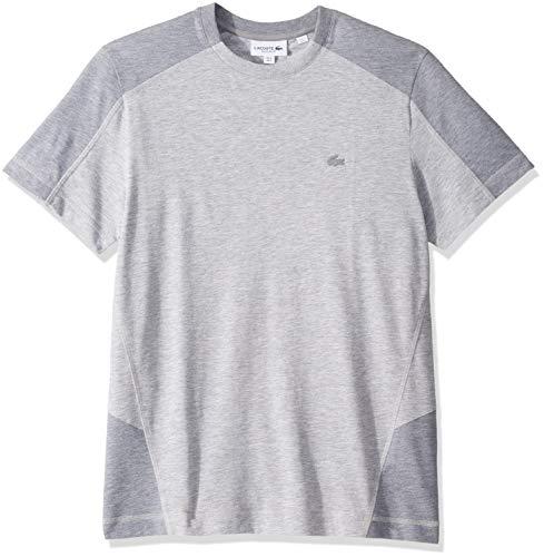 Calf Pima Cotton - Lacoste Men's S/S Colorblock Pique PIMA Leger Relax FIT T-Shirt, Silver Whale Calf Chine, XX-Large
