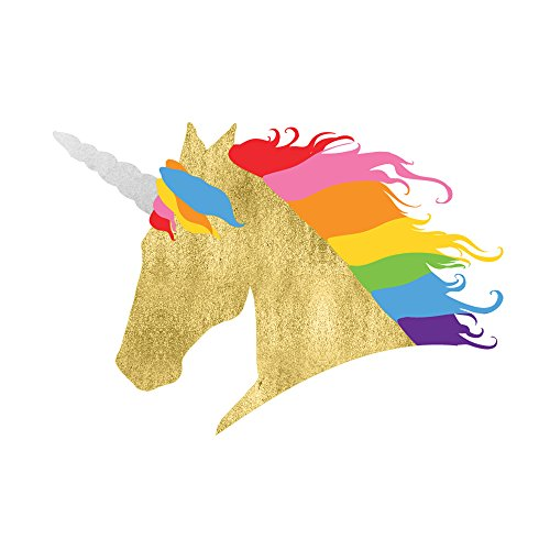 RAINBOW UNICORN set of 25 premium waterproof temporary colorful metallic gold jewelry foil Flash Tattoos – party (Unicorn Tattoo)