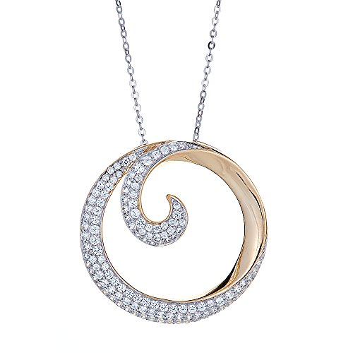 Circle Link 18' Necklace - OMG Jewelry 925 Sterling Silver Ladies Circle Pendant Necklace, Pave Cubic Zirconia Stones, 18'' Link Chains