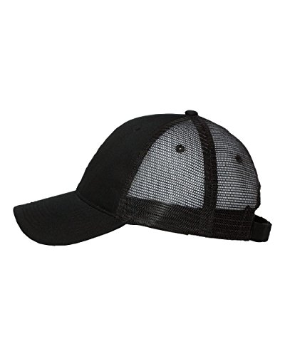 Cotton Twill Trucker Cap With Mesh Back and A Sleek Trim on front of the Bill - Unisex - Black/Black Adjustable Velcro Back Closure