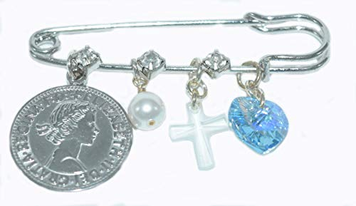 Better Than Buttons Clear Crystal Cross, Blue Heart, White Pearl, and Six Pence Bridal Pin