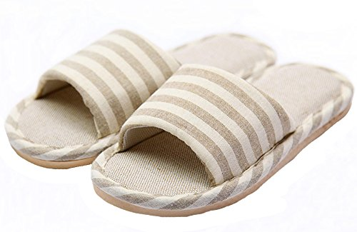 HW-GOODS-Womens-Khaki-Stripe-Open-Toe-Hemp-Slippers