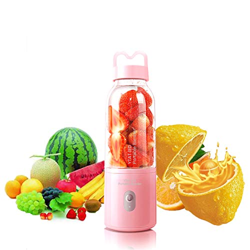 【2019 Upgraded Version】Portable Blender YTAT Mini Smoothie Blender USB Personal Blender 500ml Juicer Cup Fruit Mixer with 4000mAh Rechargeable Battery, BPA Free (pink) (Best Cheap Blenders 2019)