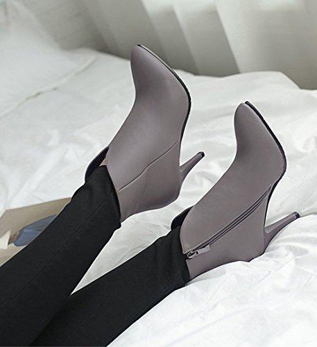 Aisun Damen Sexy Spitz Zehen Kunstleder Spitz Zehen Knöchelhoch Reißverschluss Trichterabsatz Stiefel Grau