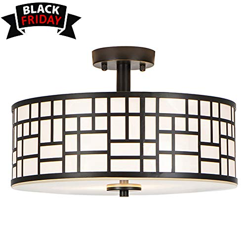 - GLANZHAUS Contemporary Fashion Style 13 Inches Lattice Outer Black Metal Shade Inner White Acrylic Diffuser Flush Mount Ceiling Light, Suitable For Living Room Bedroom Dinning Room