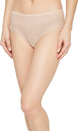 (OnGossamer Women's Next to Nothing Mesh Medium-Rise Modern Brief Panty, Champagne Large)