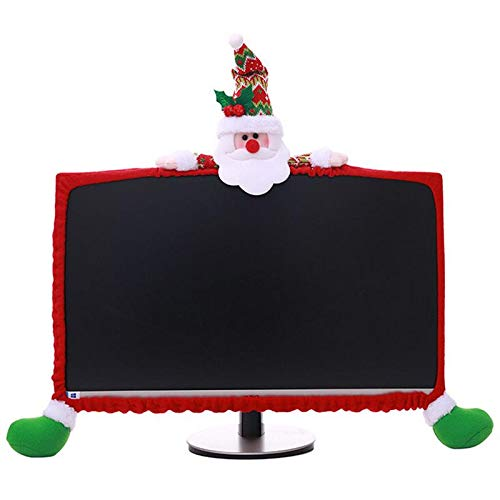 (LONG7INES Christmas Computer Monitor Cover, Elastic Xmas Decorations Reindeer Computer Monitor Border Cover, Elastic Laptop Computer Cover for Xmas Home Office Decor and New Year Gift)