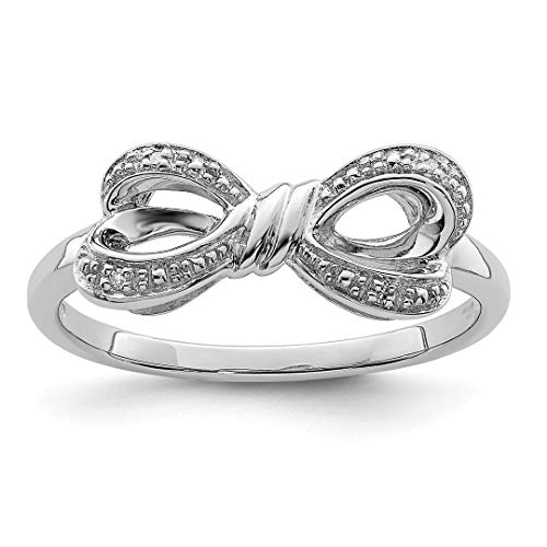 Diamond Ring Cut Cushion Bow (925 Sterling Silver Diamond Bow Band Ring Size 8.00 Fine Jewelry For Women Gift Set)
