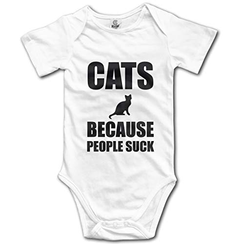 Unisex Baby Short Sleeve Bodysuits Cats Because People Suck Funny Summer Boys Girls Onesies White -