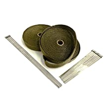 Titanium LAVA High Temperature Header Exhaust Pipe Insulation Wrap Kit: 2 Rolls LAVA EACH 1 INCH WIDE X 50 FEET LONG with Stainless Steel Zip Ties Kit- Thermal Zero - LV116150TKX2