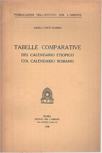 Calendario Romano.Tabelle Comparative Del Calendario Etiopico Col Calendario Romano