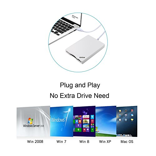 DOY Floppy Disk Drive - 3.5 inch USB External Floppy Drive Portable 1.44 MB FDD for PC Windows 8/7/XP, Windows 2008/Vista and Mac OS Plug and Play (White) by DOY (Image #2)