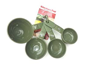 KitchenAid set Plastic Measuring Cups with Soft Grip Handles (Artichoke Green)