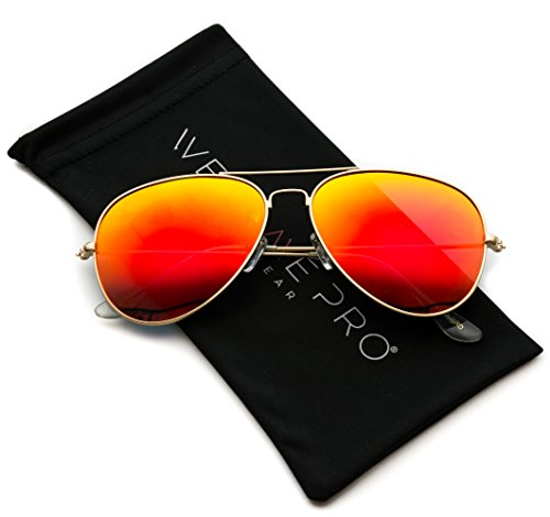 Aviator Full Silver Mirror Metal Frame - Lens Red Sunglasses Mirror