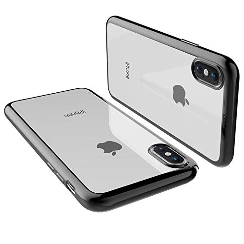Tinfsmart iPhone Xs MAX Case,Crystal Clear Case Soft TPU Cover with Electroplated Frame Ultra Thin Slim Compatible with Apple iPhone Xs MAX 6.5 inch Anti-Yellow Anti-Scratch Shockproof Case (Black)