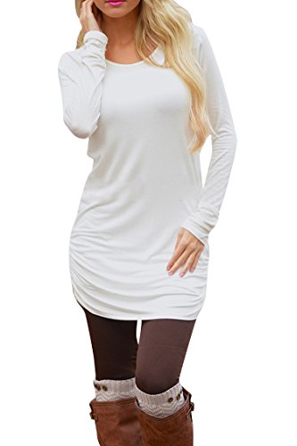 Pink Queen Women's Basic Long Sleeve Slim Fit T Shirt Dress Tunic Top L White