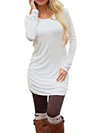 Women's Casual Long Sleeve Slim Ruched Tunic T-Shirt Dress