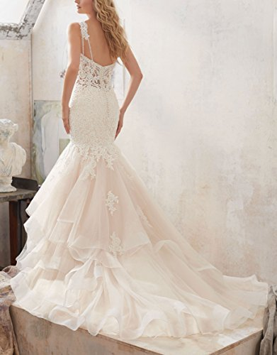 LoveMyth Women's Double Shoulder Straps Lace Appliques Sweetheart Mermaid Bridal Gown Tulle Skirt Wedding Dress Ivory 14 by LoveMyth (Image #2)