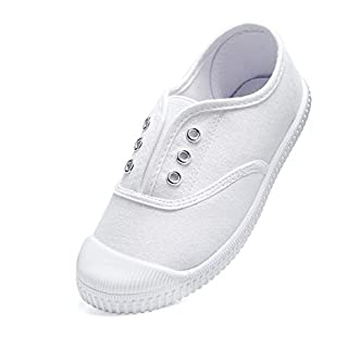 Toddler Shoes Girls/Boys Canvas Sneakers Kids Slip-on Gym Tennis Shoes Comfortable Running Shoes Outdoor/Indoor for Children (Toddlers/Little Kids/Big Kids) White