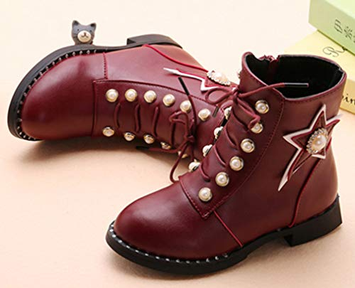 VECJUNIA Girl's Martin Boots with Pearls Stars Ankle High Side Zipper School (Wine Red, 11.5 M US Little Kid) by VECJUNIA (Image #1)