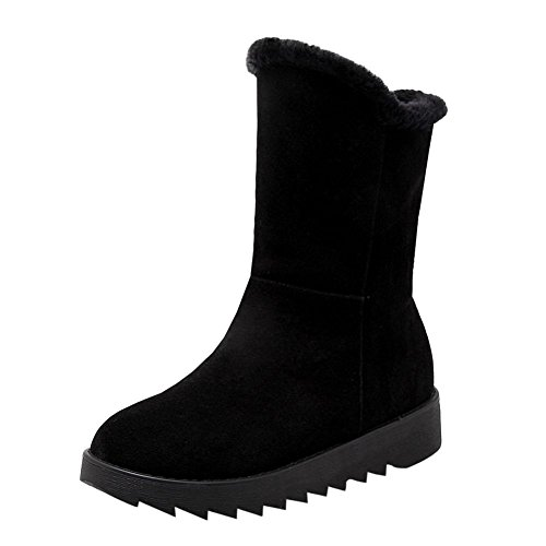 Mee Shoes Damen runde Nubukleder halbschaft runde Schneestiefel Schwarz