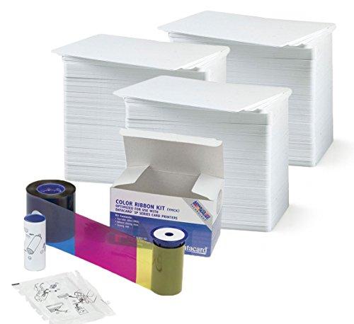 Datacard 534000-002 Color Ribbon & Cleaning Kit - YMCKT - 250 prints with badgeDesigner Premium CR80 30 Mil Graphic Quality PVC Cards - Qty 300 (002 Premium Toner Cartridge)