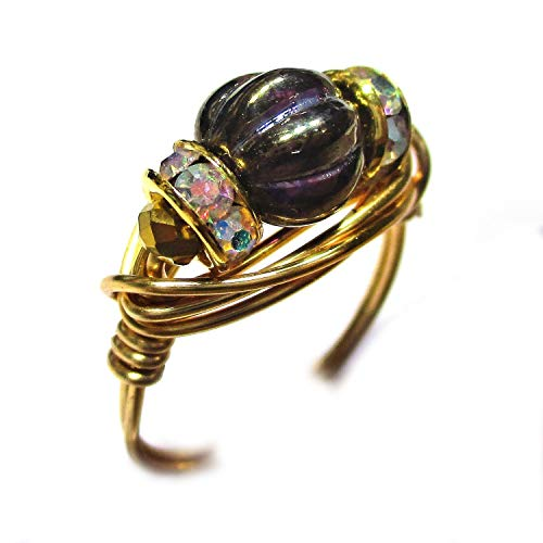 - Purple Tanzanite Czech Art Glass Gold Wire Gold Plated Elements Wrap Ring Women Size 4-12