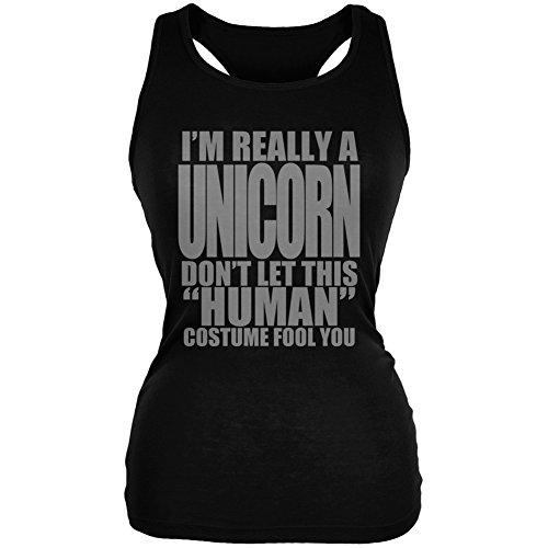 Animal World Halloween Human Unicorn Costume Black Juniors Soft Tank Top - -