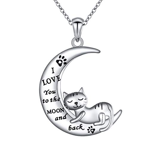 JZMSJF I Love You to The Moon & Back Crescent Moon Necklace Puppy Dog Cat Paw Cat Pendant 925 Sterling Silver Engraved Necklace Chain18''