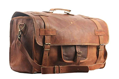 Chuffeddeal Brown Color Flap Duffel 20 Inch Genuine Leather Luggage Bag Vintage Bag Retro Style Carry on Bag   Travel Bag   Duffel Bag   Gym Bag   Featured in Kabir Singh by Shahid Kapoor