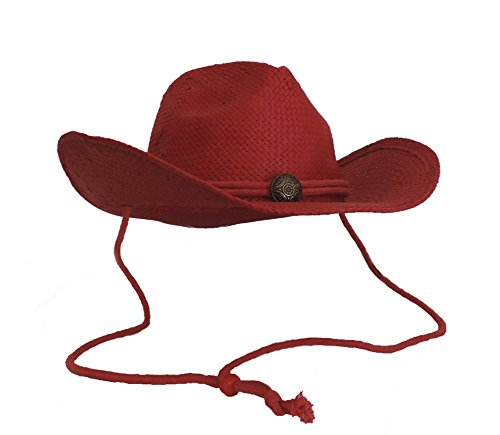 Shapeable Unisex Western Wear Toyo Straw Woven Cowboy Hat RED Concho & Chin Cord - Cowgirl Concho
