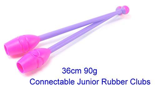 AllPlay Rhythmic Gymnastic Junior Club Rubber Head 36cm 90g Olympic Competition Spec Pair of 2 Duo Color (36cm Fuschia Purple)