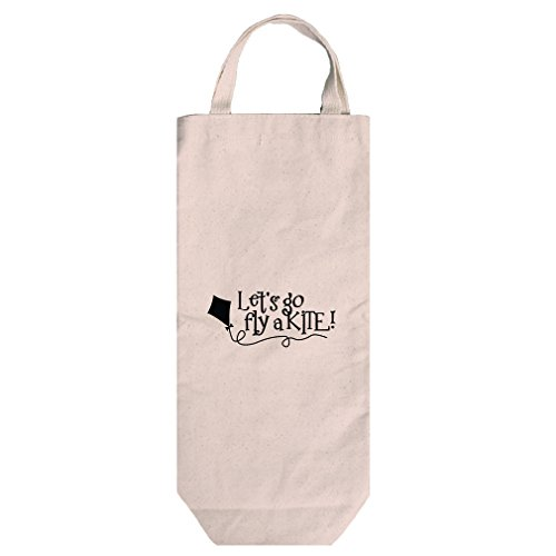 Canvas Wine Bag Tote With Handles Let'S Go Fly A Kite Style In Print by Style in Print (Image #1)