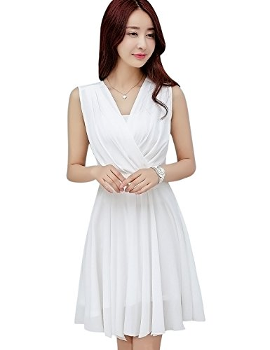 Tanming Women's Sleeveless V-Neck Knee Length Tank Chiffon Dress with Belt (X-Small, White)