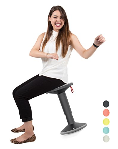 Stand Steady Up Wobble Stool for Seating Performance with Active Sitting - Premium Ergonomic Stool / Ergonomic Office Chair for Comfort & Back Pain Relief - Made in Germany (Black/Gray)
