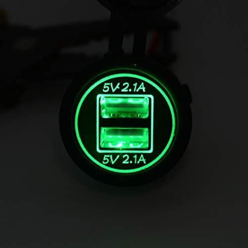 H HILABEE 青いledの車のオートバイのデュアルUSBポートチャージャー電源コンセント5v 4.2a+緑のled車のオートバイ