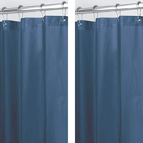 mDesign Plastic, Waterproof, Mold/Mildew Resistant, Heavy Duty PEVA Shower Curtain Liner for Bathroom Showers and Bathtubs - No Odor - 3 Gauge, 72 inches x 72 inches - 2 Pack - Navy ()